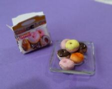 Box of Dunkin Donuts and plate  1:12 Dollhouse Miniature Gailslittlestuff