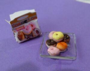 Dunkin Donuts and plate  1:12 Dollhouse Miniature Gailslittlestuff