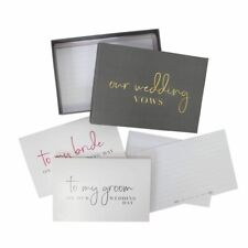 WEDDING VOWS WRITING SET letters cards bride & groom gold silver books booklets