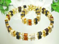 3er Schmuckset Kette Armband Ohrringe Cube Lava schwarz braun Strass gold 304f