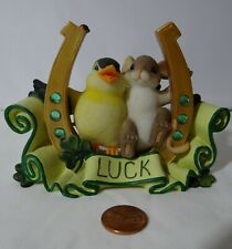 Charming Tails Lucky To Be With You St Patrick's Luck Mouse Yellow Bird No Box