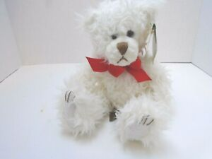 First Main White Scraggles Teddy Bear Plush Sitting Classic Stuffed Animal 11""