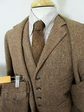 POLO RALPH LAUREN 3pc Heavy Wool Tweed suit 40 R ~ VTG jacket VEST pants WEDDING