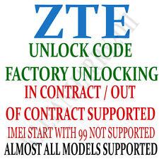 Unlock Code for ZTE PHS300 232 102Z MF91 MF93 MF64 Fast Service FAST