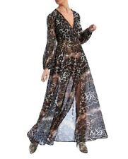 Forever Unique Animal Print Long Sleeve Wrap Maxi Dress £220 Size 8 BNWT
