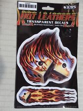 1 Sheet Transparent BIKER Decals by Hot Leathers FLAMING DICE