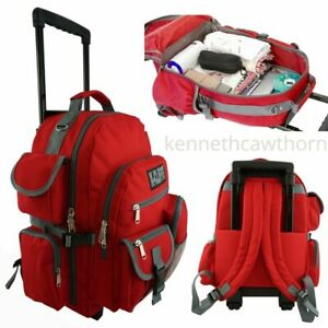 Rolling School Backpack Kids Wheeled Book Bag Daypack With Multiple Pockets Red