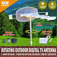 NEW Rotating Outdoor Digital TV Antenna RemoteAerial HDTV UHF VHF Caravan ET-3AT