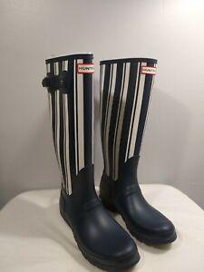 Hunter Original Tall Garden Stripped Print Rain Boots Blue and White Size 10