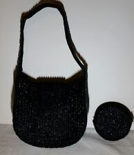 LA REGALE BLACK BEADED PURSE with MATCHING CHANGE PURSE