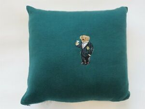 Ralph Lauren Alsten Green Knit Sweater Deco Pillow Embroidered Bear Martini NWT