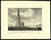 Antique Print-PLANCENOIT-WATERLOO-MONUMENT-BELGIUM-Pl.98-de Cloet-Madou-1825