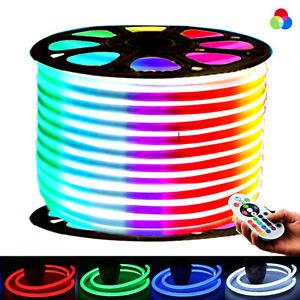 LED RGB Neon Flex 220V 240V 14x25mm Light IP67 Waterproof Outdoor Use UK Plug
