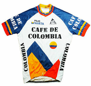 CAFE DE COLOMBIA RETRO VINTAGE TOUR DE FRANCE CYCLING TEAM BIKE SUMMER JERSEY