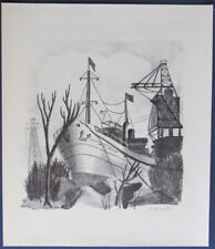 "Early 1900's Lithographic Print CAROL HORROCKS Rhode Island "" Ship In Dock """
