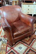 "34"" Wide modern club chair vintage brown cigar distressed leather spectacular"
