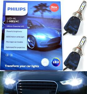 Philips Ultinon LED Kit 6000K White 9006 HB4 Two Bulbs Fog Light Lamp Upgrade OE