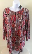 PREMISE Studio Women's Tunic Top Sz 0X Orange Multi Paisley Rayon Shirt NWT $68.