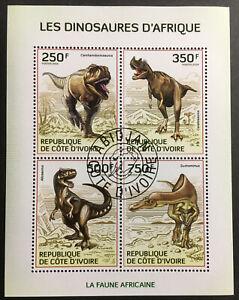 Dinosaurs CTO Souvenir Sheet of 4 Stamps 2014 Ivory Coast