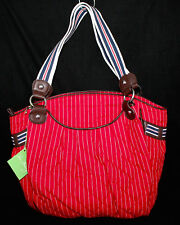 NWT VERA BRADLEY 11446 Carry-All Tote Red w/ White Pinstripes MSRP $105