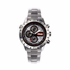 Reloj De Cuarzo Fila 38-007-002 para Hombre Cronógrafo Plata Acero Inoxidable-RRP £ 199