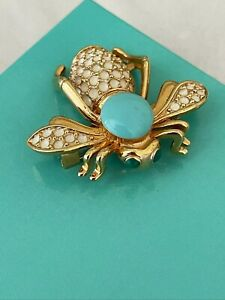 Vintage Gold Tone and White Enamel Bee Brooch with Faux Turquoise Cabochon