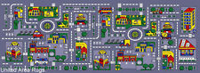 "3x7 Runner Rug Play Road Driving Time Street Car Kids City Map Fun Time 2'5""x6'6"