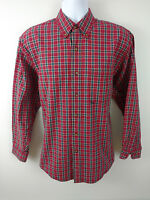 EDDIE BAUER Men's Long Sleeve Red Plaid Button front Casual Shirt Size Medium