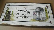 10x19 Large COUNTRY BATH Bear OUTHOUSE  Bathroom rustic lodge Star Decor Sign