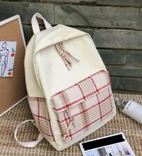 Womens Unisex Beige Check Red Brown Tartan Cotton Canvas Bag Backpack Couples