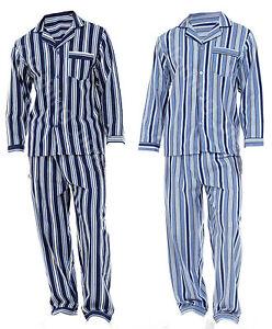 Mens Loungewear Striped Flannel Cotton Pyjama Set Winter Warm  Pjs M-XXL