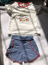 Pre-owned Baby Girls Mamas & Papas T-shirt Shorts Summer Outfit Size 9-12 Months