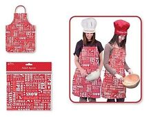 CHRISTMAS KITCHEN APRON CHEF COOKING BAKING NOVELTY RED FESTIVE PVC WIPE CLEAN