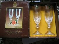 ( NEW ) 2 X VINTAGE CATHEDRAL CRYSTAL CHAMPAGNE GLASSES FLUTES