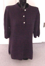 Vintage 80's Navy Oversize Tunic Sweater Silk & Cotton Sweater Top -S/M