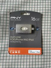 PNY Duo-Link On-the-Go USB Flash Drive for iPhone and iPad - 16 GB - Brand New