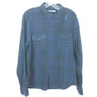 VINCE Mens Longsleeve Cotton Button Up Plaid Shirt Sz Large L Blue/Black Plaid
