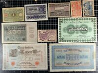 German Notgeld Lot of 10 Notes Diverse hyperinflation Depression Money Currency