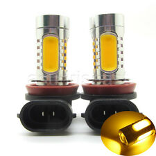 2 x Yellow Amber H11 7.5W COB Car LED Fog Light Head Lamp Projector Bulb 12V