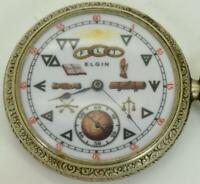 Rare antique Art-Deco Elgin fancy dial Masonic/Odd Fellows pocket watch