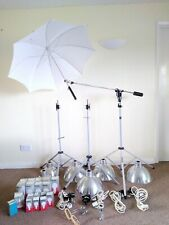 PHOTAX Interfit studio light system, stands, boom arm, brolly, flash adaptors