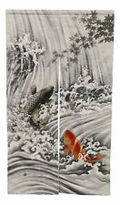 "Japanese Noren Curtain Tapestry Feng Shui Two Koi Fishes In Waterfall 59.25""L"