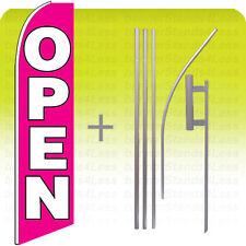 Open - Swooper Flag Kit Feather Flutter Banner Sign 15' Set - pb