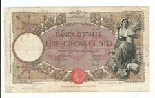 Italy 500 Lire. Huge Banknote. Vf. from 1938. type for Facist Officials.!