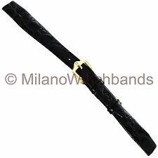 13mm Hirsch Crocograin Black Genuine Leather Open Ended Ladies Watch Band