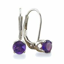 14K WHITE GOLD 1/2CT SOLITAIRE ROUND AMETHYST LEVERBACK EARRINGS
