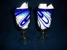 Cobalt Blue Spiral Hand Blown Goblet Parfait Ball Stem Glasses Glassware EUC
