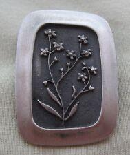 Vintage Rune Tennesmed Sweden Signed Pewter Floral Leaf Brooch Pin Mid-Century