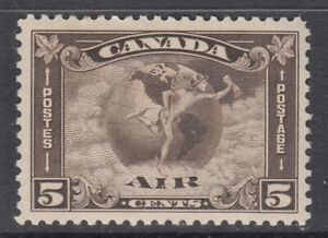 """Canada MINT OG Scott #C2 5 cent Mercury, with scoll in hand  """"Air Mail""""   F"""