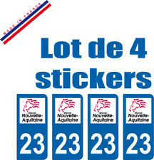 4 STICKERS PLAQUE AUTO IMMATRICULATION DEPARTEMENT 23 logo AQUITAINE Lion Rouge